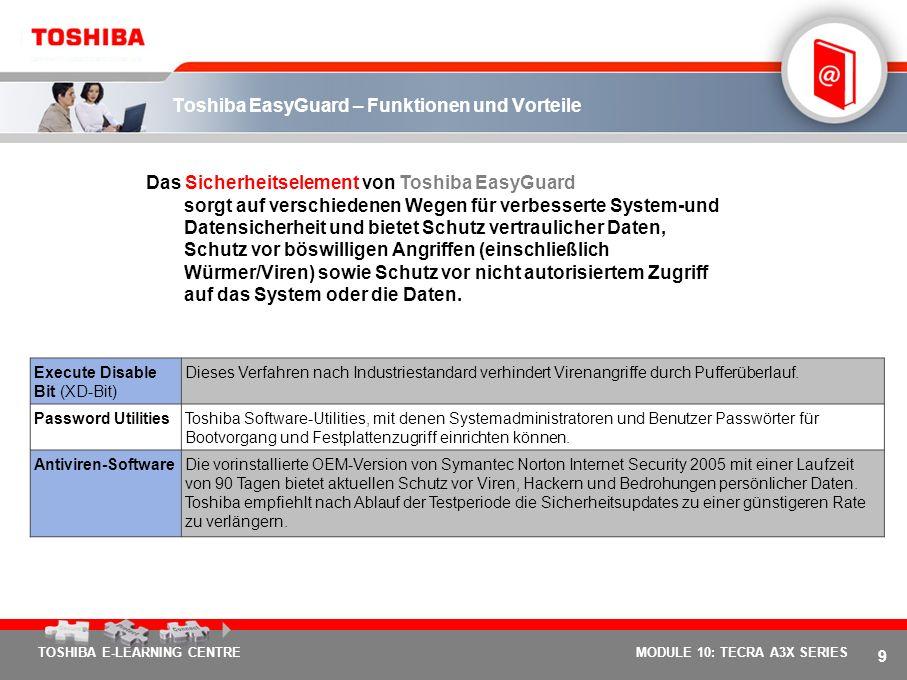 8 TOSHIBA E-LEARNING CENTREMODULE 10: TECRA A3X SERIES Drei Kernelemente für sorgenfreies mobiles Arbeiten Verbesserte Datensicherheit, erweiterter Sy