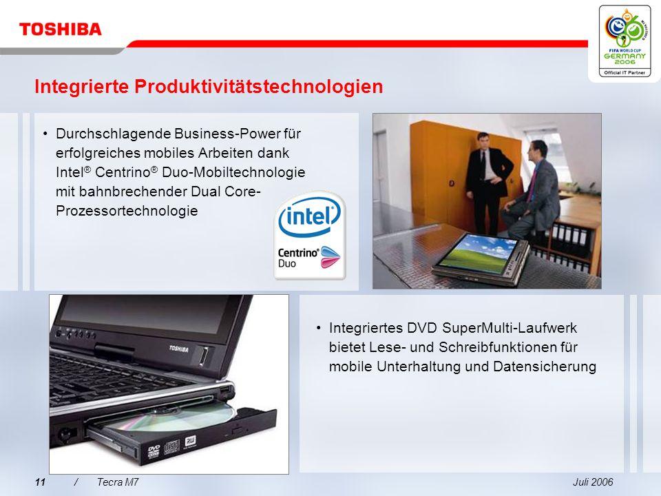 Juli 200610/Tecra M7 Mit NVIDIA ® Quadro ® NVS 110M mit Turbo Cache-Grafikchipsatz Unternehmensauswahl für Multi Display-Grafiken Unvergleichbare Leis