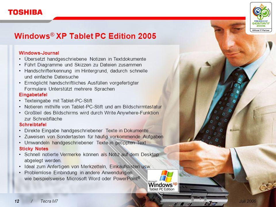 Juli 200611/Tecra M7 Integrierte Produktivitätstechnologien Durchschlagende Business-Power für erfolgreiches mobiles Arbeiten dank Intel ® Centrino ®