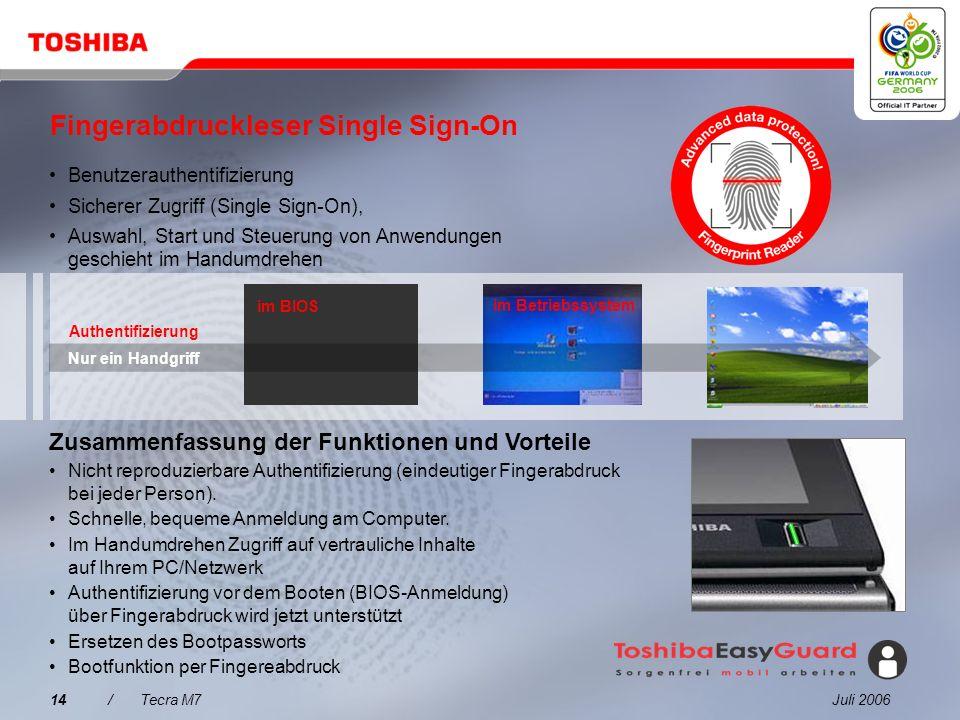 Juli 200613/Tecra M7 Was spricht für den Tecra M7? 1 2 3 4 5 Tecra M7 Integrierte Produktivitätstechnologien Verbesserter Datenschutz mit Toshiba Easy