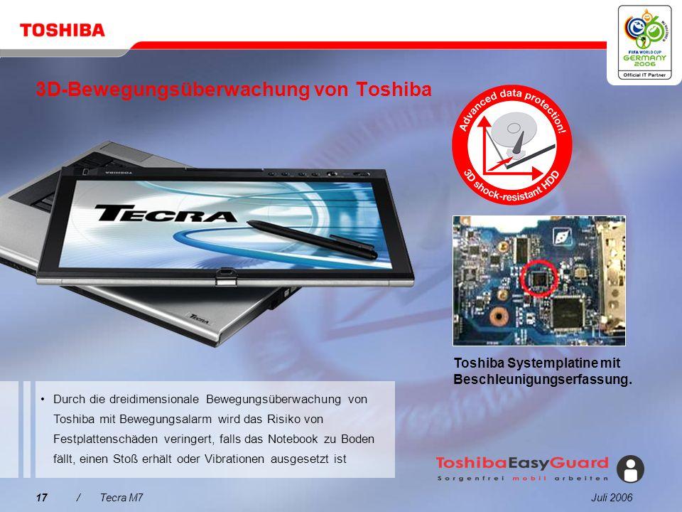 Juli 200616/Tecra M7 Ermöglicht Benutzern, ein Timer-aktiviertes BIOS-Passwort einzurichten, das im Fall eines Diebstahls unberechtigten Systemzugriff