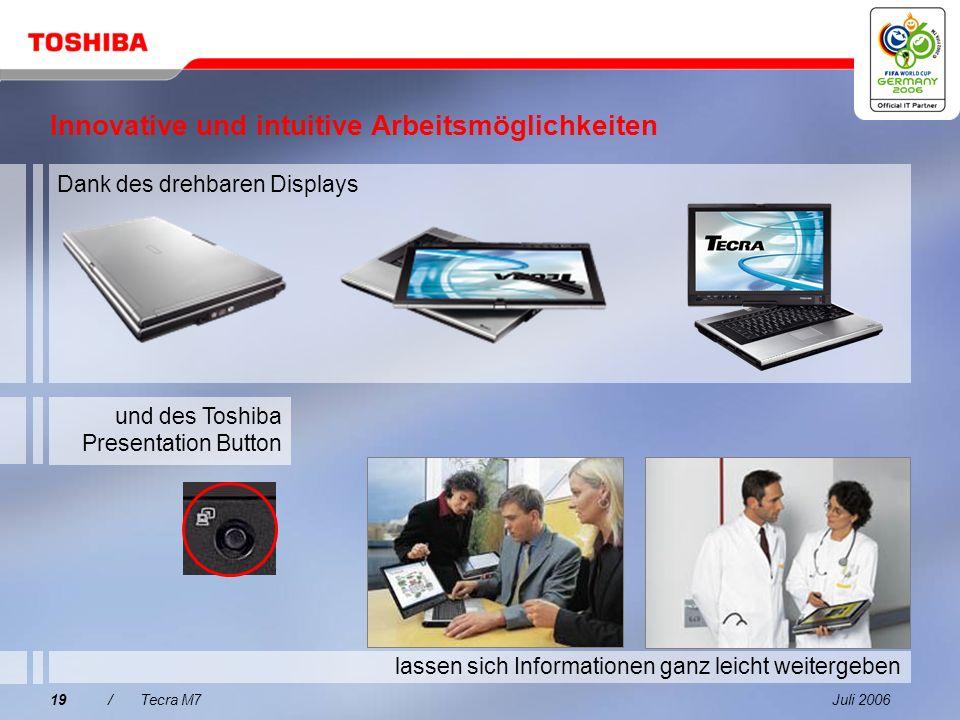 Juli 200618/Tecra M7 1 2 3 4 Was spricht für den Tecra M7? 5 Tecra M7 Integrierte Produktivitätstechnologien Verbesserter Datenschutz mit Toshiba Easy