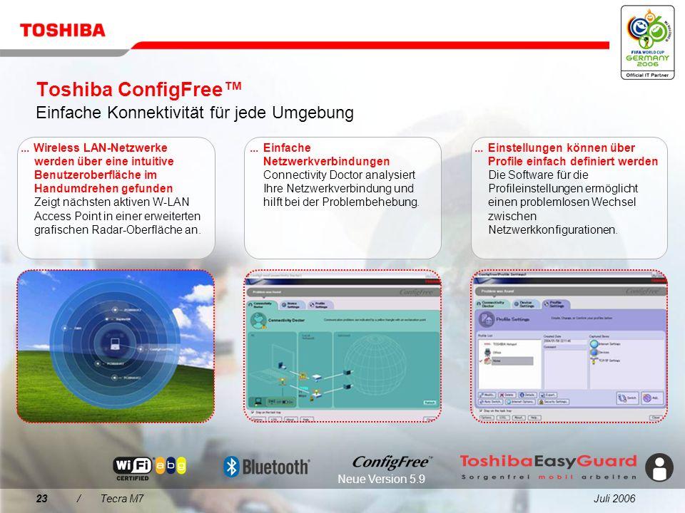 Juli 200622/Tecra M7 Was spricht für den Tecra M7? 1 2 3 4 5 Tecra M7 Integrierte Produktivitätstechnologien Verbesserter Datenschutz mit Toshiba Easy