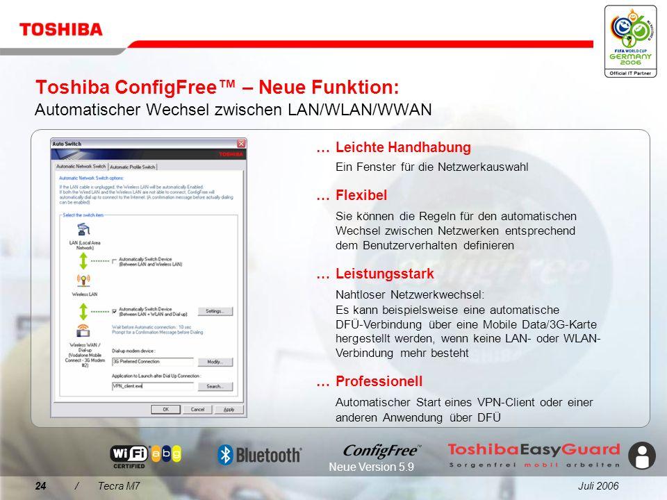 Juli 200623/Tecra M7 Toshiba ConfigFree Einfache Konnektivität für jede Umgebung... Wireless LAN-Netzwerke werden über eine intuitive Benutzeroberfläc