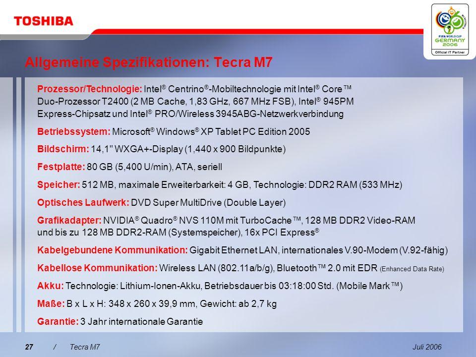 Juli 200626/Tecra M7 Eingebaute Konnektivität Einfaches Andocken und weniger Kabelsalat mit dem optionalen Toshiba Express Port Replicator Netzteilans