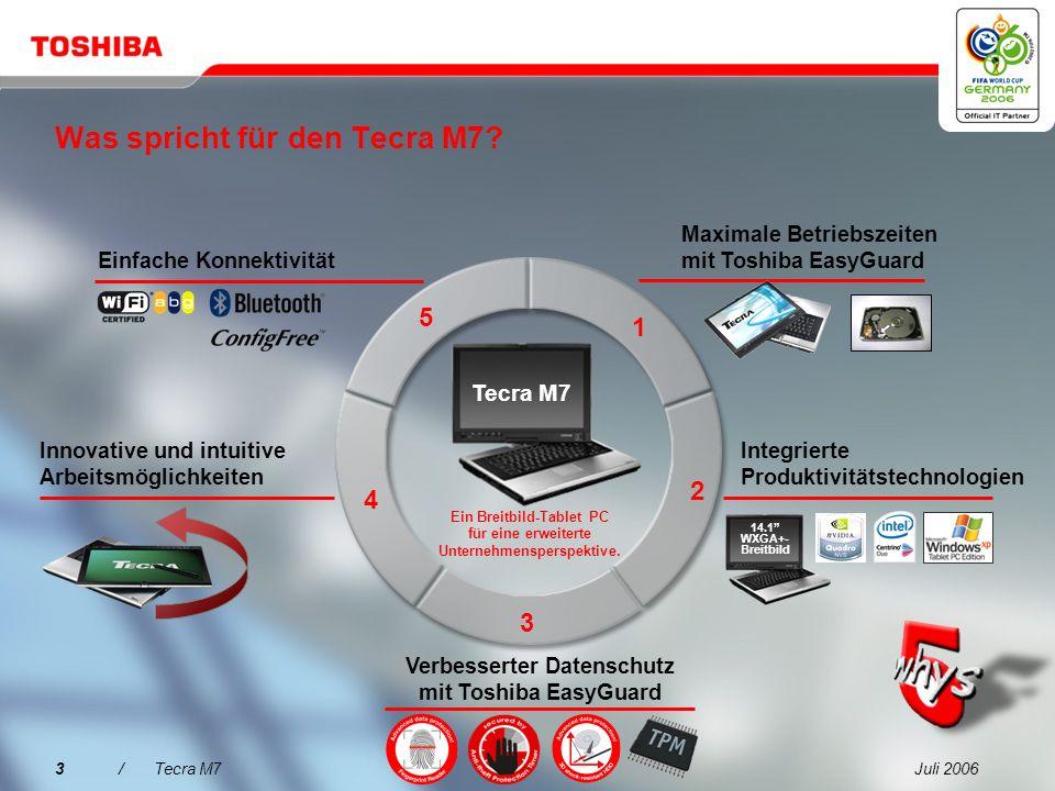 Juli 20062/Tecra M7 Der bessere Weg hin zu erhöhter Datensicherheit, erweitertem Systemschutz und einfacherer Konnektivität: Toshiba Assist-Taste für