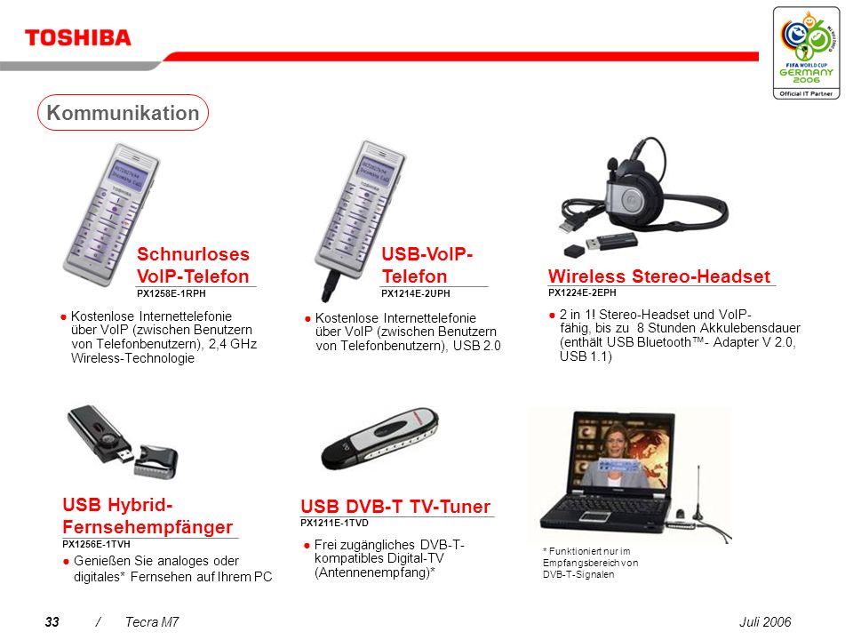 Juli 200632/Tecra M7 256/512 MB/1 GB/2 GB PC2 DDR2 (667 MHz)-Speicher PA3499U-1M25 (256 MB) PA3511U-1M51 (512 MB) PA3512U-1M1G (1 GB) PA3513U-1M2G (2