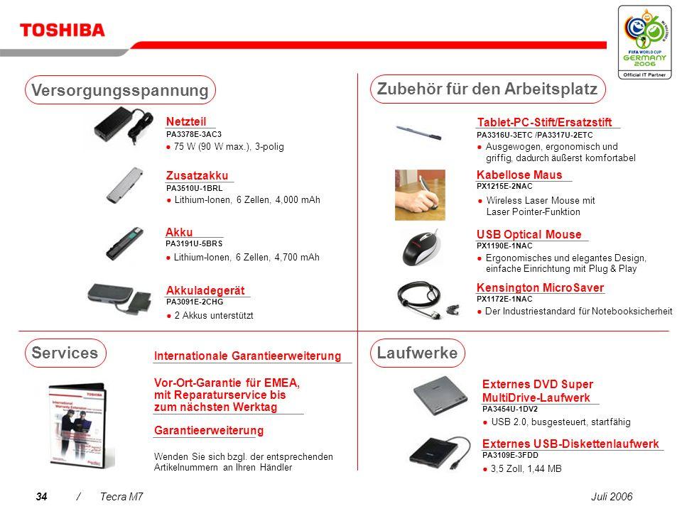 Juli 200633/Tecra M7 USB DVB-T TV-Tuner PX1211E-1TVD Frei zugängliches DVB-T- kompatibles Digital-TV (Antennenempfang)* USB Hybrid- Fernsehempfänger P