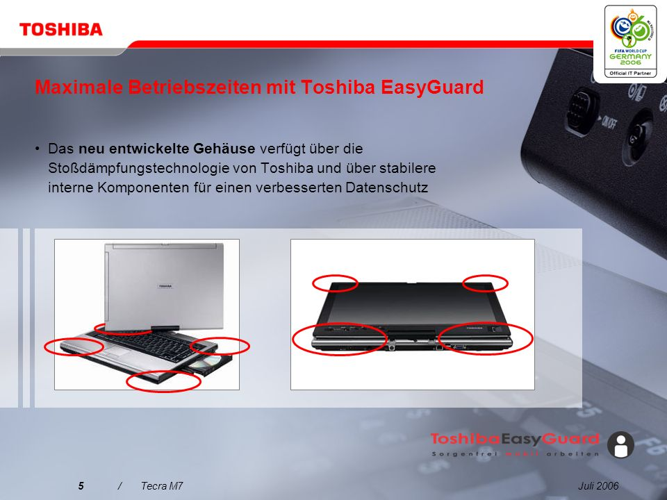 Juli 20065/Tecra M7 Maximale Betriebszeiten mit Toshiba EasyGuard Das neu entwickelte Gehäuse verfügt über die Stoßdämpfungstechnologie von Toshiba und über stabilere interne Komponenten für einen verbesserten Datenschutz