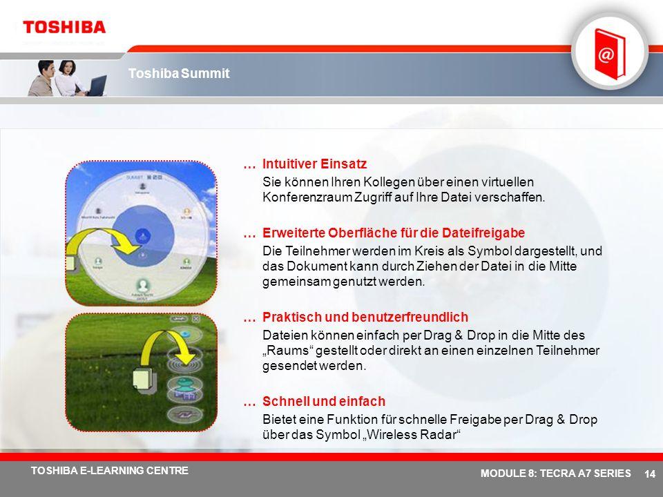 # 13 TOSHIBA E-LEARNING CENTRE MODULE 8: TECRA A7 SERIES Toshiba ConfigFree – Neue Funktion: Neue Version v5.7 …Leichte Handhabung Ein Fenster für die