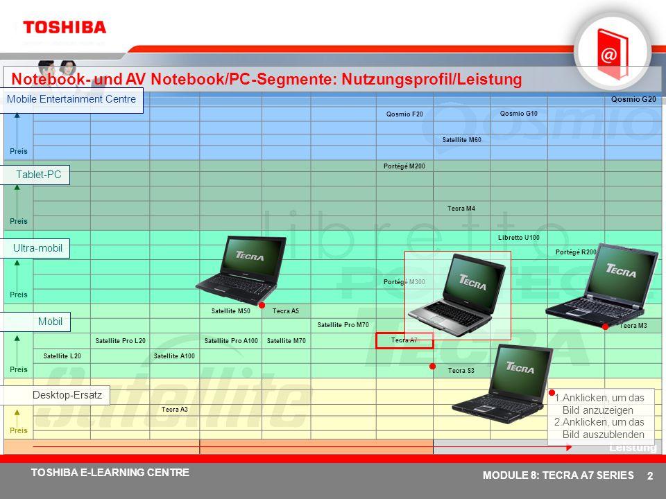 # 12 TOSHIBA E-LEARNING CENTRE MODULE 8: TECRA A7 SERIES Toshiba ConfigFree WiFi-Netzwerke werden über eine intuitive Benutzeroberfläche im Handumdrehen ermittelt Zeigt nächsten aktiven Wi-Fi Access Point in einer erweiterten grafischen Radar-Oberfläche an....Einfache Netzwerkverbindungen Connectivity Doctor analysiert Ihre Netzwerkverbindung und hilft bei der Problembehebung....Einstellungen können über Profile einfach definiert werden Die Software für die Profileinstellungen ermöglicht einen problemlosen Wechsel zwischen Netzwerkkonfigurationen.