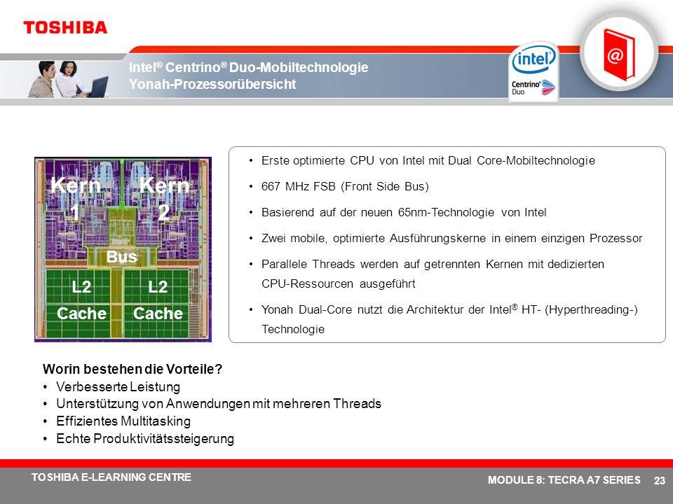 # 22 TOSHIBA E-LEARNING CENTRE MODULE 8: TECRA A7 SERIES CRT LPC SIO/EC Azalia/ AC 97 8 Anschlüsse Eigenständig Gfx TPM 1.2 LPC Golan WLAN LVDS Flachb