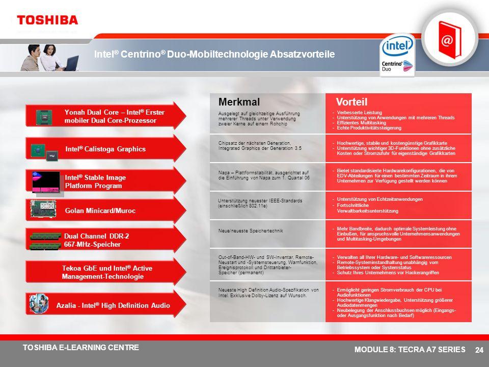 # 23 TOSHIBA E-LEARNING CENTRE MODULE 8: TECRA A7 SERIES Bus L2 Cache L2 Cache Kern 1 Kern 2 L2 Cache L2 Cache Erste optimierte CPU von Intel mit Dual