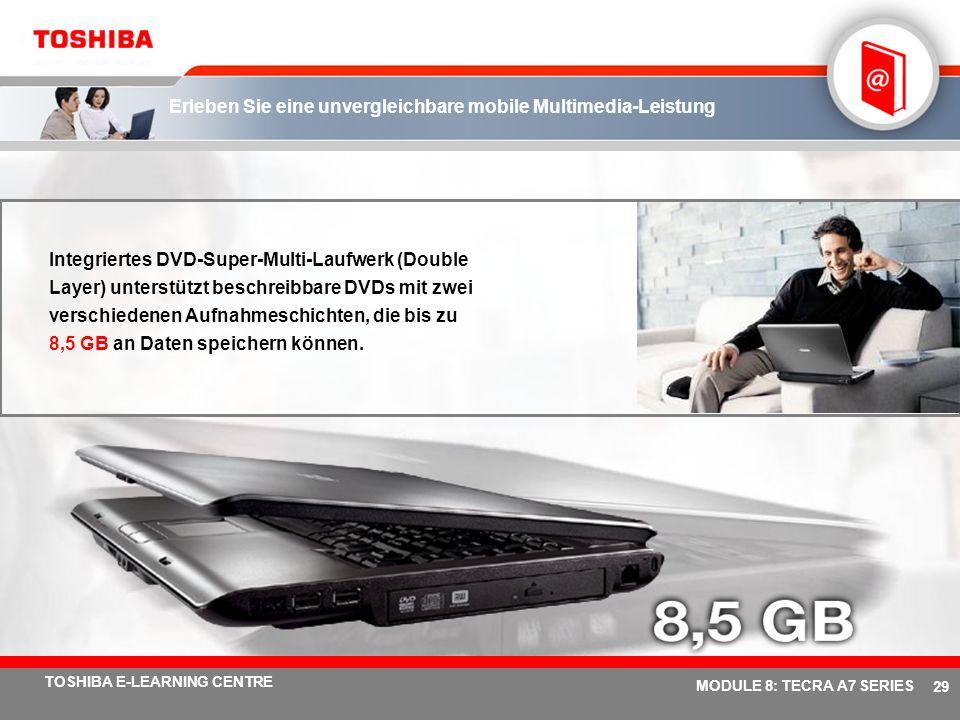 # 28 TOSHIBA E-LEARNING CENTRE MODULE 8: TECRA A7 SERIES Betreten Sie die Welt visueller Geschwindigkeit mit Mobility Radeon ® X1400/1600 Verbesserte