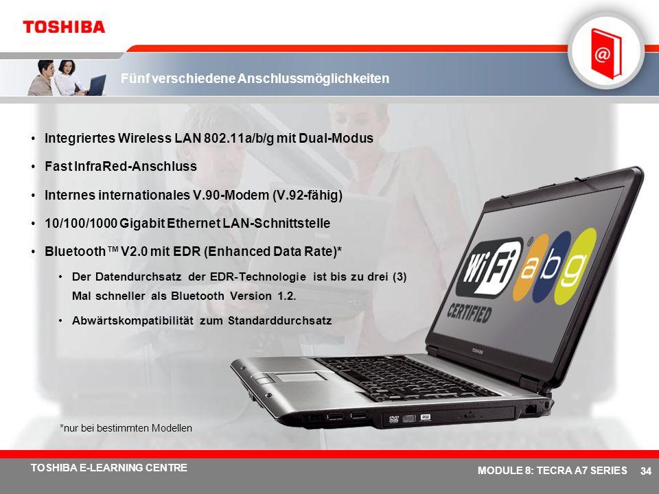 # 33 TOSHIBA E-LEARNING CENTRE MODULE 8: TECRA A7 SERIES Einfache Erweiterung 4 USB 2.0-Anschlüsse Der 5-in-1 Bridge Media-Steckplatz unterstützt die