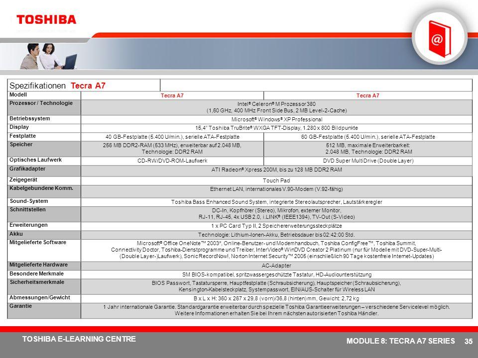# 34 TOSHIBA E-LEARNING CENTRE MODULE 8: TECRA A7 SERIES Fünf verschiedene Anschlussmöglichkeiten Integriertes Wireless LAN 802.11a/b/g mit Dual-Modus