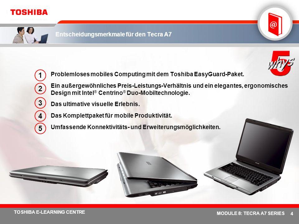# 34 TOSHIBA E-LEARNING CENTRE MODULE 8: TECRA A7 SERIES Fünf verschiedene Anschlussmöglichkeiten Integriertes Wireless LAN 802.11a/b/g mit Dual-Modus Fast InfraRed-Anschluss Internes internationales V.90-Modem (V.92-fähig) 10/100/1000 Gigabit Ethernet LAN-Schnittstelle Bluetooth V2.0 mit EDR (Enhanced Data Rate)* Der Datendurchsatz der EDR-Technologie ist bis zu drei (3) Mal schneller als Bluetooth Version 1.2.