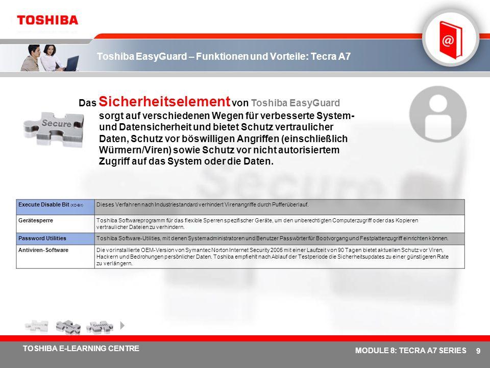 # 9 TOSHIBA E-LEARNING CENTRE MODULE 8: TECRA A7 SERIES Toshiba EasyGuard – Funktionen und Vorteile: Tecra A7 Das Sicherheitselement von Toshiba EasyGuard sorgt auf verschiedenen Wegen für verbesserte System- und Datensicherheit und bietet Schutz vertraulicher Daten, Schutz vor böswilligen Angriffen (einschließlich Würmern/Viren) sowie Schutz vor nicht autorisiertem Zugriff auf das System oder die Daten.