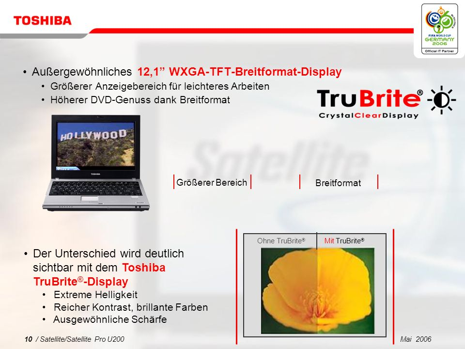 Mai 20069 / Satellite/Satellite Pro U200 1 2 3 4 5 Was spricht für Satellite/Satellite Pro U200? Superschlankes Notebook für jedermann Sicherheit und