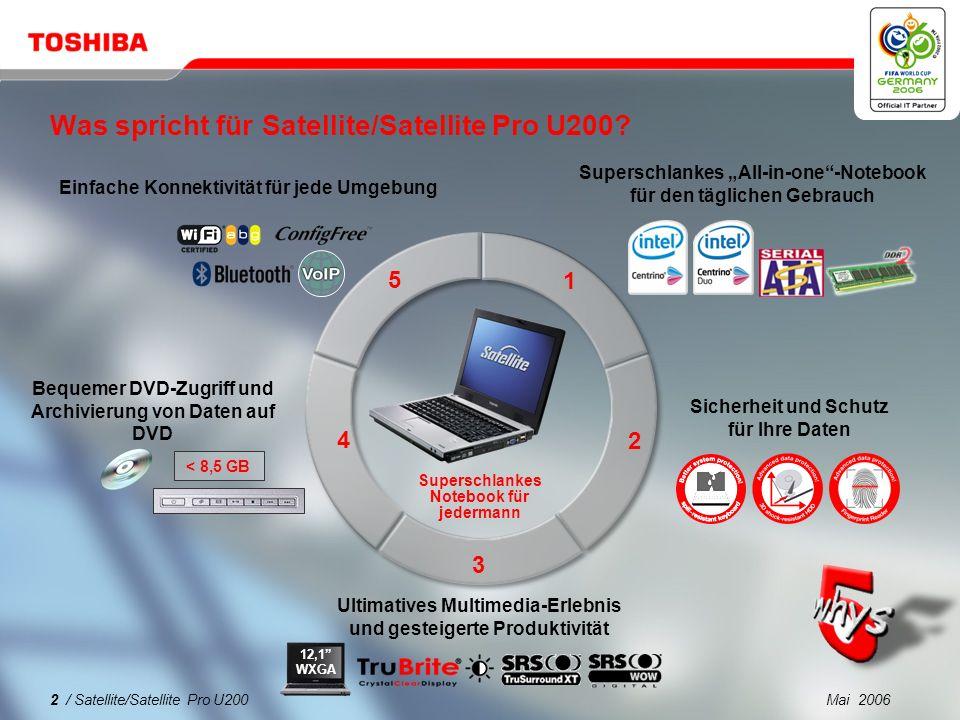 Mai 200612 / Satellite/Satellite Pro U200 1 2 3 4 5 Was spricht für Satellite/Satellite Pro U200.