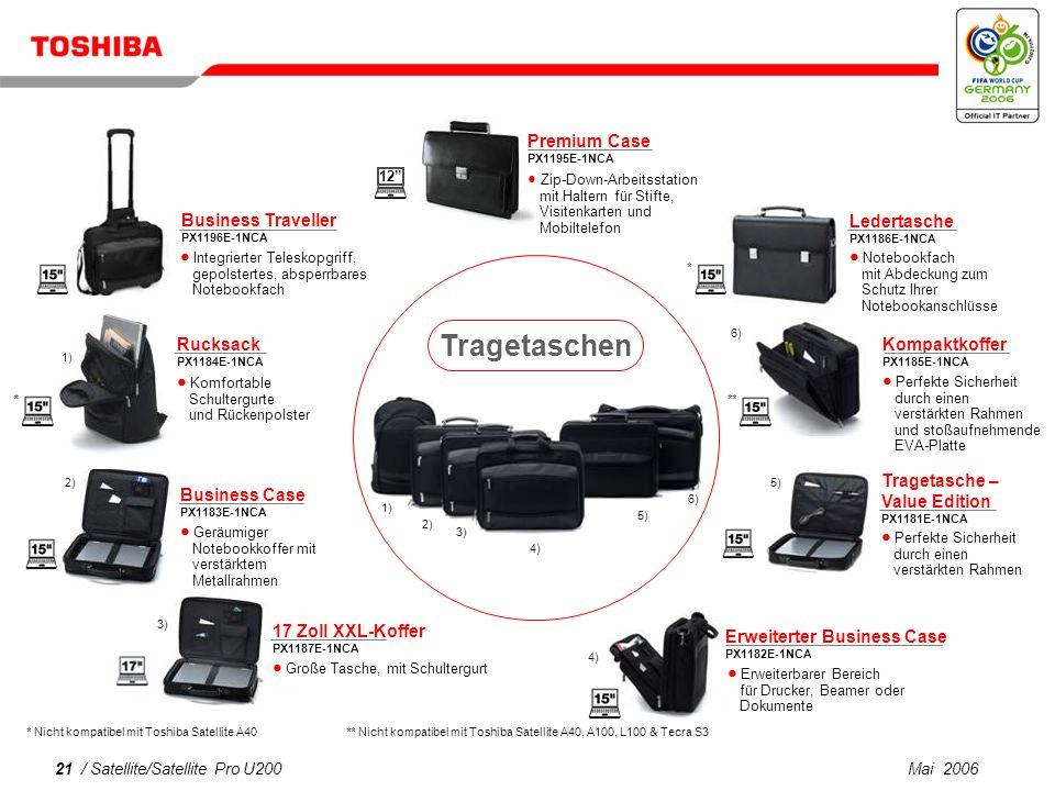 Mai 200620 / Satellite/Satellite Pro U200 USB 2.0 Port Replicator II PX1173E-1PRP Häufig verwendete Anschlüsse als Kompaktlösung Enthält vier USB-Anschlüsse, zwei PS/2-Anschlüsse, einen seriellen RS232-Anschluss sowie einen USB 2.0 LAN-Anschluss Mini T-Cam PX1247E-1NWC USB-Webcam mit flexiblem Fuß, Standbild-/Video- Auflösung: 640 x 480 Pixel, 24-Bit-Farbe Kommunikation Zubehör für den Arbeitsplatz USB-Tastatur PX1252x-1DAC (in verschiedenen Länderversionen erhältlich) Hochwertige Membrantastatur mit taktiler Rückmeldung, USB 2.0 USB-Multimedia-Tastatur PX1253x-1DAC (in verschiedenen Länderversionen erhältlich) 19 vordefinierte Hot Keys für den einfachen Zugriff auf Multimedia, Internet und Anwendungen, USB 2.0