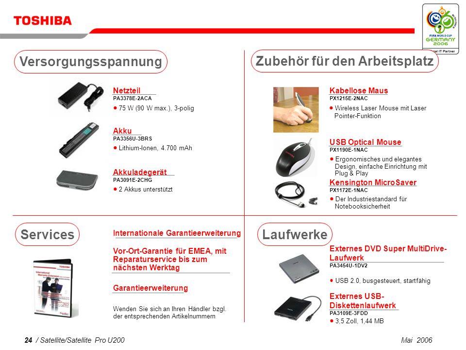 Mai 200623 / Satellite/Satellite Pro U200 USB DVB-T TV-Tuner PX1211E-1TVD Frei zugängliches DVB-T- kompatibles Digital-TV (Antennenempfang)* Bluetooth