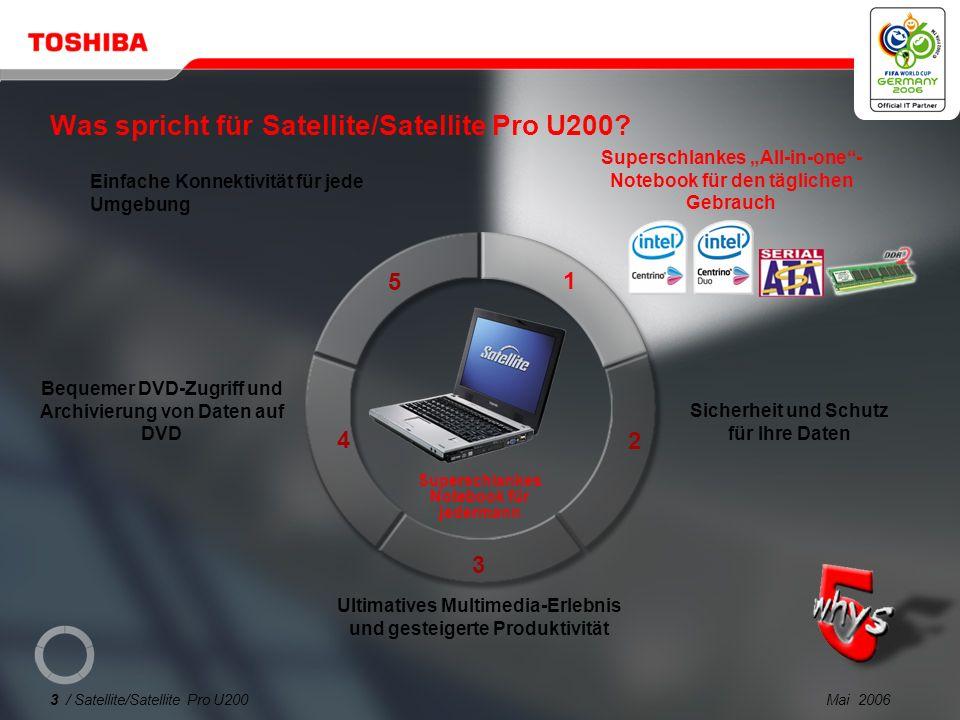 Mai 200623 / Satellite/Satellite Pro U200 USB DVB-T TV-Tuner PX1211E-1TVD Frei zugängliches DVB-T- kompatibles Digital-TV (Antennenempfang)* Bluetooth USB-Adapter PA3477U-1BTM Wireless Stereo-Headset PX1224E-2EPH Bluetooth ® V 2.0, USB 2.0 2 in 1.