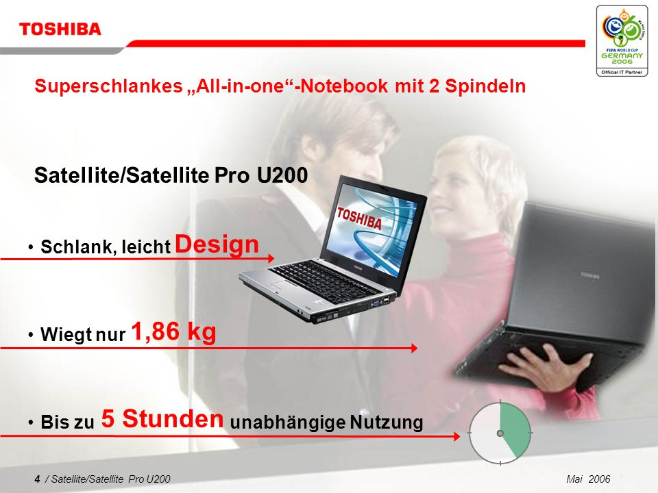 Mai 20063 / Satellite/Satellite Pro U200 1 2 3 4 5 Was spricht für Satellite/Satellite Pro U200? Superschlankes Notebook für jedermann Sicherheit und