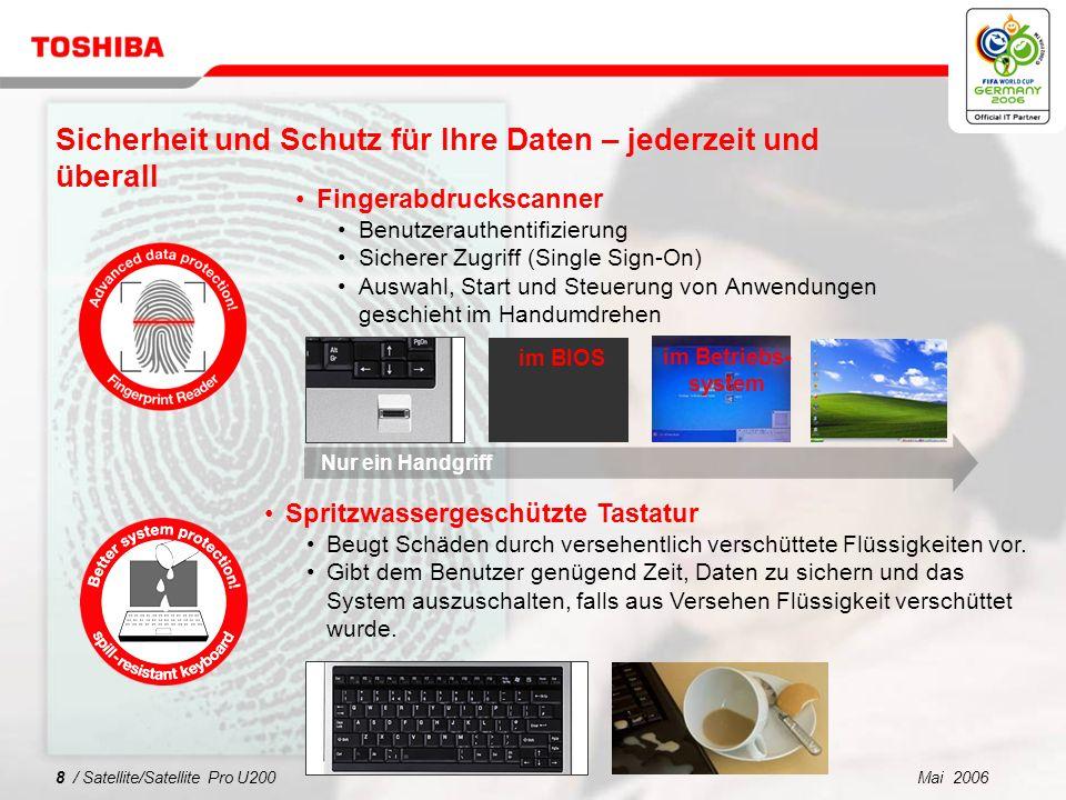 Mai 20067 / Satellite/Satellite Pro U200 Sicherheit und Schutz für Ihre Daten – jederzeit und überall Toshibas stoßfestes Design mit Magnesiumgehäuse