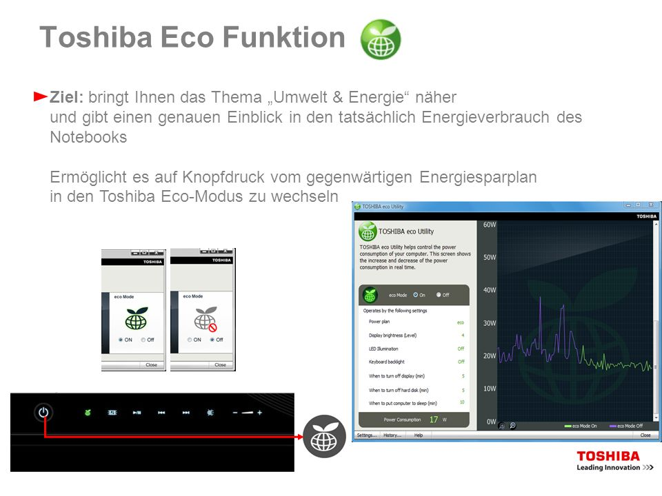 Toshiba Eco Funktion Ziel: bringt Ihnen das Thema Umwelt & Energie näher und gibt einen genauen Einblick in den tatsächlich Energieverbrauch des Noteb