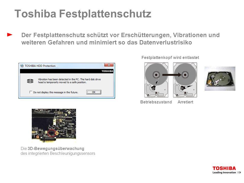 Toshiba Health Monitor Die Toshiba PC Health Monitor-Software überwacht proaktiv bestimmte Zustände des Notebooks: Stromverbrauch Kühlstatus Akkustatus