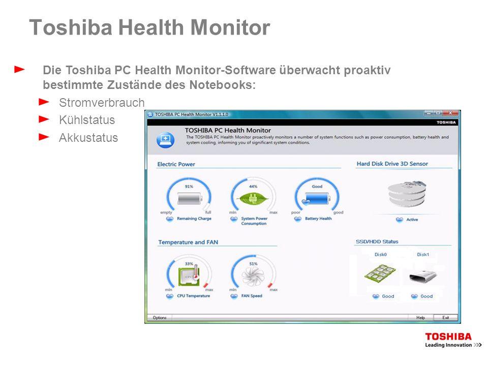 Toshiba Health Monitor Die Toshiba PC Health Monitor-Software überwacht proaktiv bestimmte Zustände des Notebooks: Stromverbrauch Kühlstatus Akkustatu