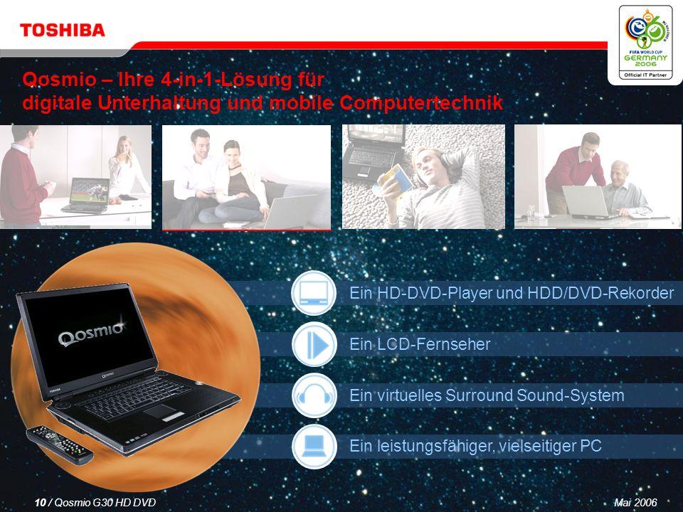 Mai 20069 / Qosmio G30 HD DVD Mit Microsoft ® Windows ® XP Media Center Edition 2005 Mit Windows ® XP Media Center Edition 2005 genießen Sie alle Vorteile bei Home Entertainment, persönlicher Produktivität und Kreativität mit Ihrem Qosmio G30 – kinderleicht, umfassend und nahtlos.
