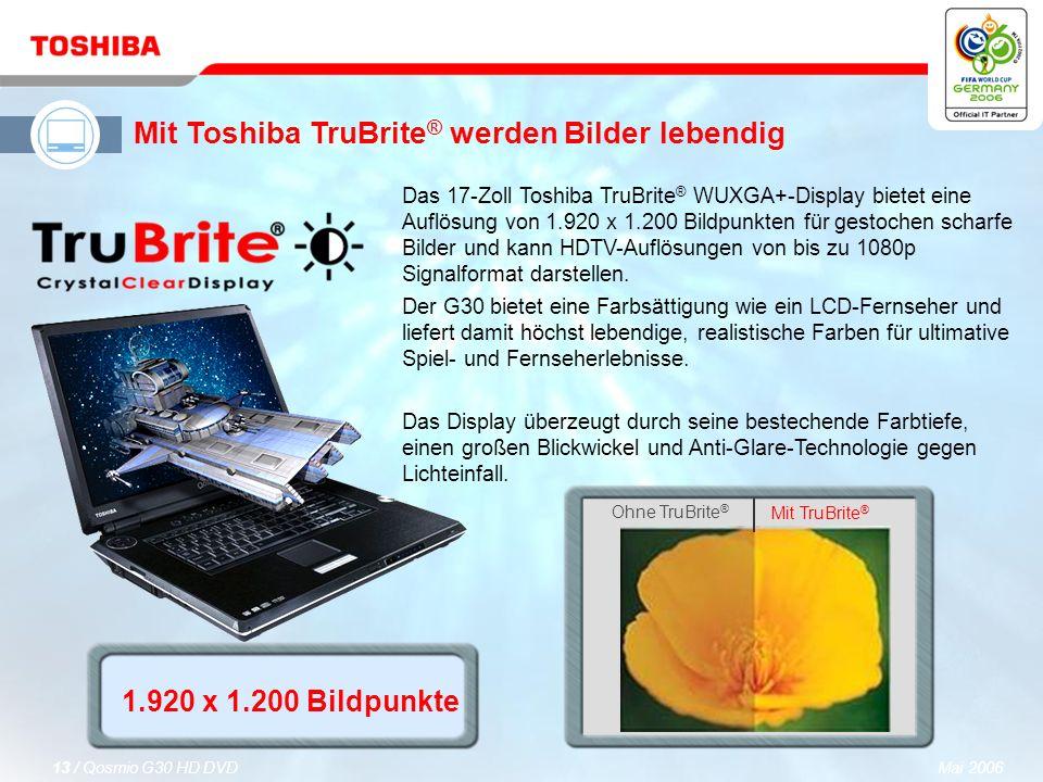 Mai 200612 / Qosmio G30 HD DVD Analog-digitaler Hybrid-Fernsehempfänger (DVB-T) Der integrierte analog-digitale Fernsehempfänger unterstützt weltweite