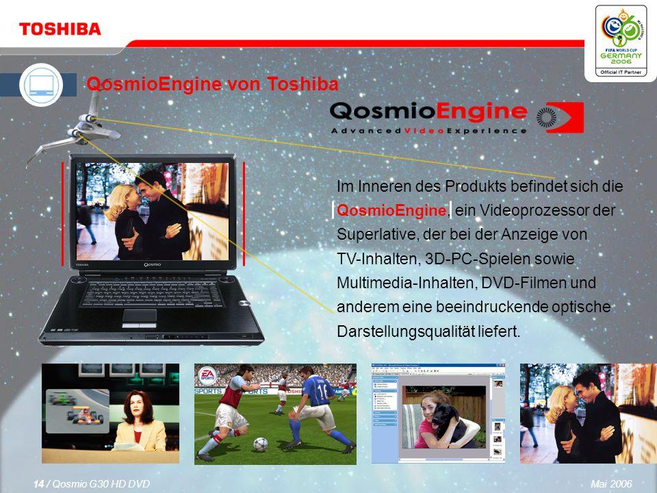 Mai 200613 / Qosmio G30 HD DVD Das 17-Zoll Toshiba TruBrite ® WUXGA+-Display bietet eine Auflösung von 1.920 x 1.200 Bildpunkten für gestochen scharfe Bilder und kann HDTV-Auflösungen von bis zu 1080p Signalformat darstellen.