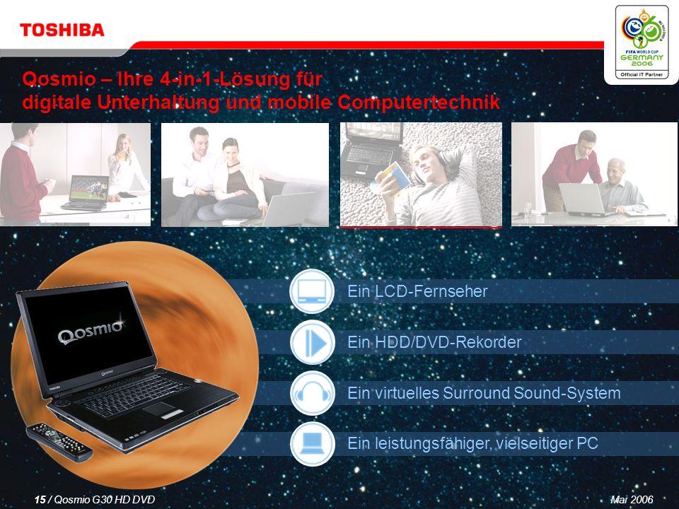 Mai 200614 / Qosmio G30 HD DVD Im Inneren des Produkts befindet sich die QosmioEngine, ein Videoprozessor der Superlative, der bei der Anzeige von TV-Inhalten, 3D-PC-Spielen sowie Multimedia-Inhalten, DVD-Filmen und anderem eine beeindruckende optische Darstellungsqualität liefert.