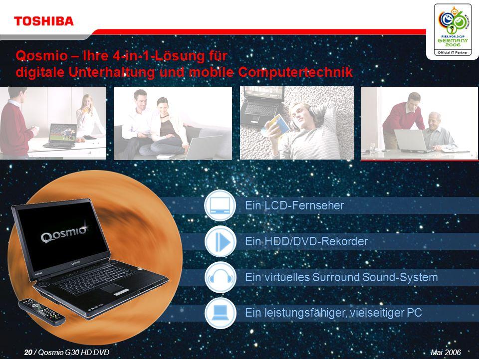 Mai 200619 / Qosmio G30 HD DVD Dolby ® Home Theater Echtes Surround Sound-Erlebnis in Heimkinoqualität Echtes 5.1-Surround Sound- Erlebnis für sämtliche Inhalte: MP3 CD Radio Fernsehen und Spielfilme