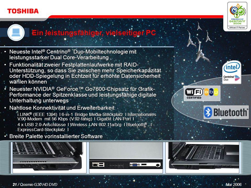 Mai 200620 / Qosmio G30 HD DVD Ein LCD-Fernseher Ein HDD/DVD-Rekorder Ein virtuelles Surround Sound-System Ein leistungsfähiger, vielseitiger PC Qosmio – Ihre 4-in-1-Lösung für digitale Unterhaltung und mobile Computertechnik