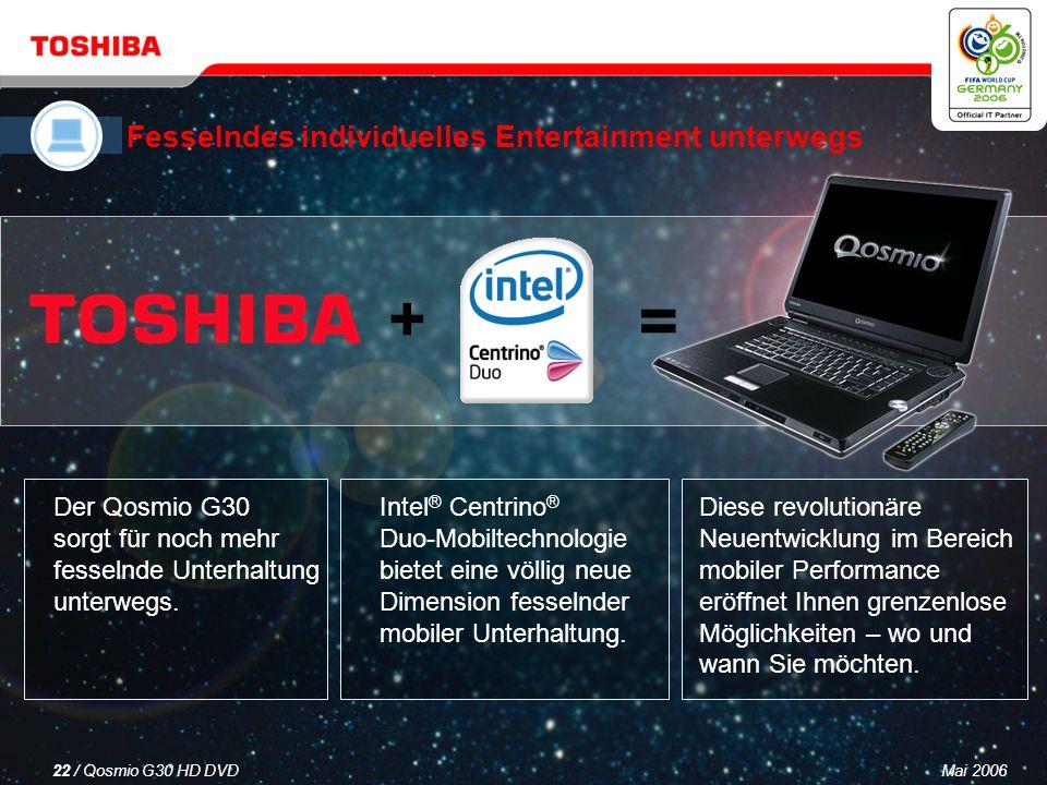 Mai 200621 / Qosmio G30 HD DVD Neueste Intel ® Centrino ® Duo-Mobiltechnologie mit leistungsstarker Dual Core-Verarbeitung Funktionalität zweier Festplattenlaufwerke mit RAID- Unterstützung, so dass Sie zwischen mehr Speicherkapazität oder HDD-Spiegelung in Echtzeit für erhöhte Datensicherheit wählen können Neuester NVIDIA ® GeForce Go7600-Chipsatz für Grafik- Performance der Spitzenklasse und leistungsfähige digitale Unterhaltung unterwegs Nahtlose Konnektivität und Erweiterbarkeit i.LINK ® (IEEE 1394) I 6-in-1 Bridge Media-Steckplatz I Internationales V.90-Modem mit 56 Kbps (V.92-fähig) I GigaBit LAN-Port I 4 x USB 2.0-Anschlüsse I Wireless LAN 802.11a/b/g I Bluetooth ® I ExpressCard-Steckplatz I Breite Palette vorinstallierter Software Neueste Intel ® Centrino ® Duo-Mobiltechnologie mit leistungsstarker Dual Core-Verarbeitung Funktionalität zweier Festplattenlaufwerke mit RAID- Unterstützung, so dass Sie zwischen mehr Speicherkapazität oder HDD-Spiegelung in Echtzeit für erhöhte Datensicherheit wählen können Neuester NVIDIA ® GeForce Go7600-Chipsatz für Grafik- Performance der Spitzenklasse und leistungsfähige digitale Unterhaltung unterwegs Nahtlose Konnektivität und Erweiterbarkeit i.LINK ® (IEEE 1394) I 6-in-1 Bridge Media-Steckplatz I Internationales V.90-Modem mit 56 Kbps (V.92-fähig) I GigaBit LAN-Port I 4 x USB 2.0-Anschlüsse I Wireless LAN 802.11a/b/g I Bluetooth ® I ExpressCard-Steckplatz I Breite Palette vorinstallierter Software Ein leistungsfähiger, vielseitiger PC