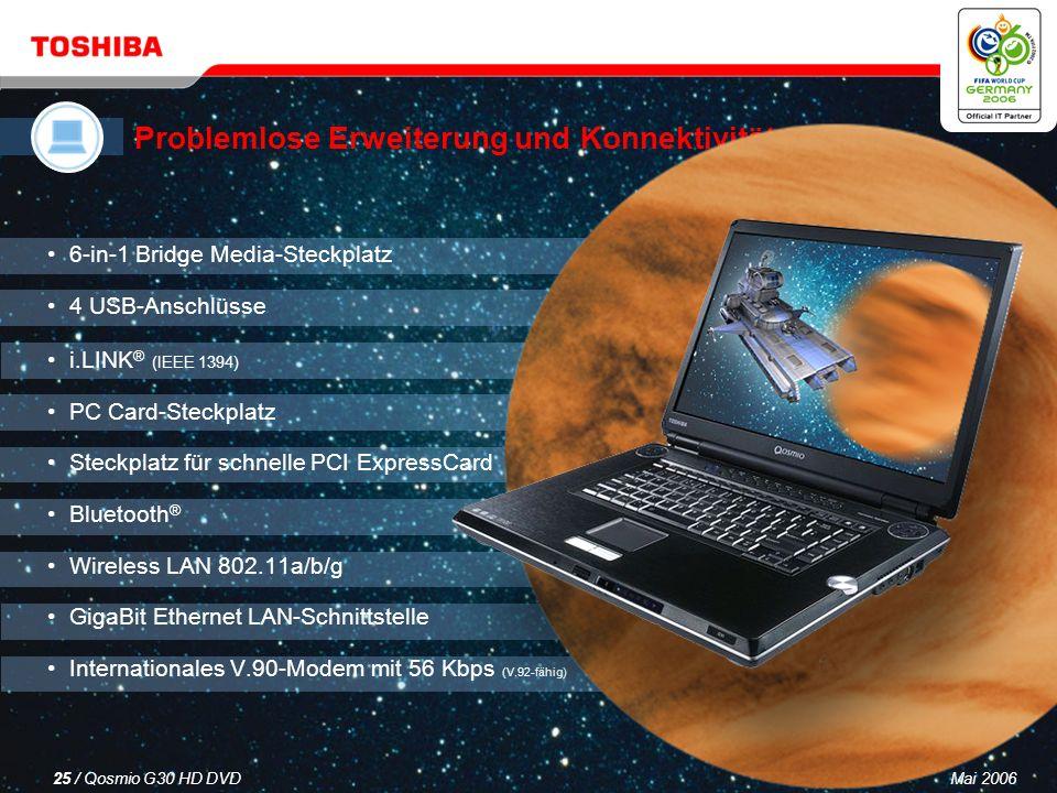 Mai 200624 / Qosmio G30 HD DVD NVIDIA ® GeForce ® Go 7600-Grafikprozessor 1. High Definition-Grafiken – unterstützen die neuesten Computerspiele 2. Hi