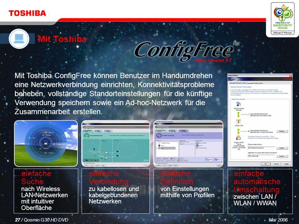 Mai 200626 / Qosmio G30 HD DVD Microsoft Office OneNote* 2003 für die schnelle und einfache Notizenerstellung und Planung Sonic RecordNow.
