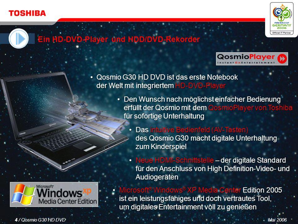 Mai 20063 / Qosmio G30 HD DVD Ein HD-DVD-Player und HDD/DVD-Rekorder Ein LCD-Fernseher Ein virtuelles Surround Sound-System Ein leistungsfähiger, vielseitiger PC Qosmio – Ihre 4-in-1-Lösung für digitale Unterhaltung und mobile Computertechnik