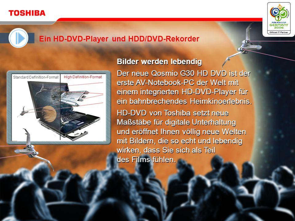 Mai 20064 / Qosmio G30 HD DVD Microsoft ® Windows ® XP Media Center Edition 2005 ist ein leistungsfähiges und doch vertrautes Tool, um digitales Entertainment voll zu genießen Den Wunsch nach möglichst einfacher Bedienung erfüllt der Qosmio mit dem QosmioPlayer von Toshiba für sofortige Unterhaltung Das intuitive Bedienfeld (AV-Tasten) des Qosmio G30 macht digitale Unterhaltung zum Kinderspiel Neue HDMI-Schnittstelle – der digitale Standard für den Anschluss von High Definition-Video- und Audiogeräten Das intuitive Bedienfeld (AV-Tasten) des Qosmio G30 macht digitale Unterhaltung zum Kinderspiel Neue HDMI-Schnittstelle – der digitale Standard für den Anschluss von High Definition-Video- und Audiogeräten Qosmio G30 HD DVD ist das erste Notebook der Welt mit integriertem HD-DVD-Player Ein HD-DVD-Player und HDD/DVD-Rekorder