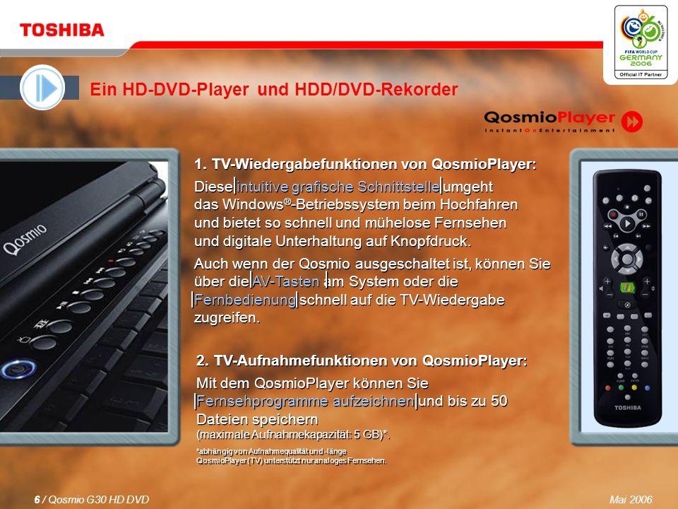 Mai 20065 / Qosmio G30 HD DVD Bilder werden lebendig Der neue Qosmio G30 HD DVD ist der erste AV-Notebook-PC der Welt mit einem integrierten HD-DVD-Player für ein bahnbrechendes Heimkinoerlebnis.