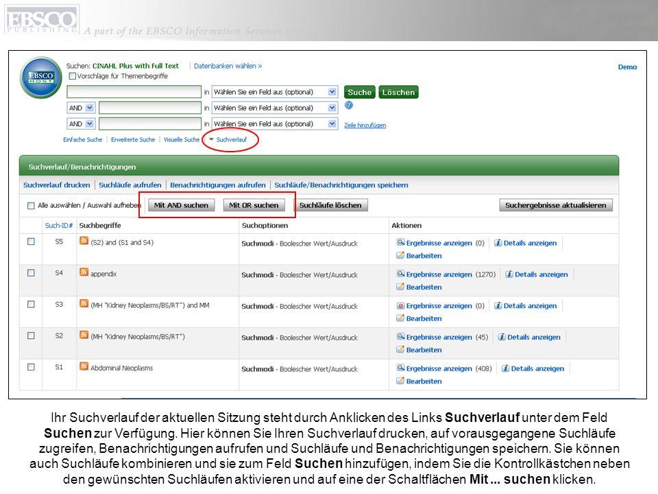 Unter Aktionen können Sie die Ergebnisse für jede Zeile Ihres Suchverlaufes anzeigen, indem Sie auf Ergebnisse anzeigen klicken, und Sie können die Details Ihrer Suchläufe anzeigen, indem Sie auf die Links Details anzeigen klicken.