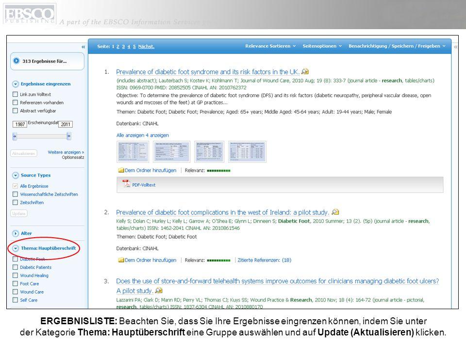 ERGEBNISLISTE: Beachten Sie, dass Sie Ihre Ergebnisse eingrenzen können, indem Sie unter der Kategorie Thema: Hauptüberschrift eine Gruppe auswählen und auf Update (Aktualisieren) klicken.