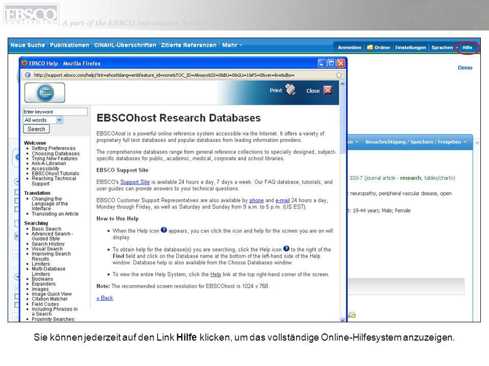 Sie können jederzeit auf den Link Hilfe klicken, um das vollständige Online-Hilfesystem anzuzeigen.