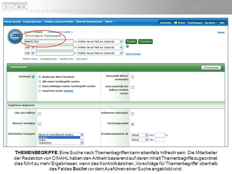 Sie können auch auf den CINAHL-Gruppen-Link in der Symbolleiste oben klicken, um nach geeigneten Themenbegriffen zu suchen.