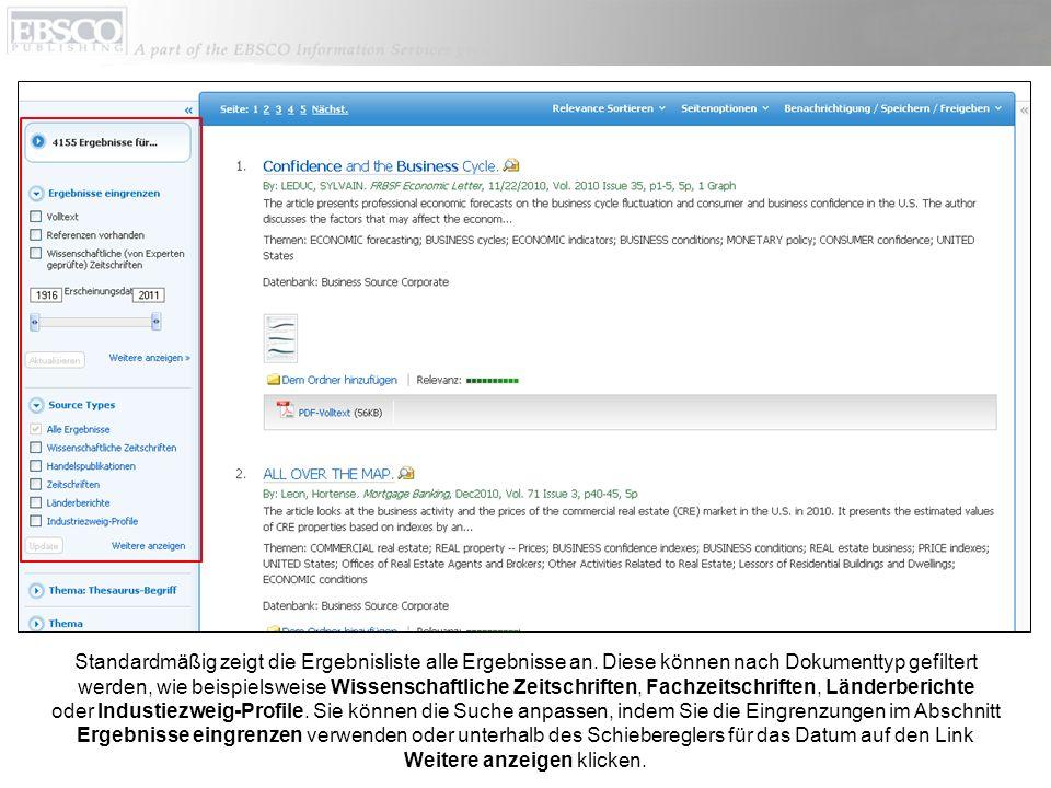 Im Fenster Suchoptionen können Suchergebnisse einfach eingegrenzt oder erweitert werden.