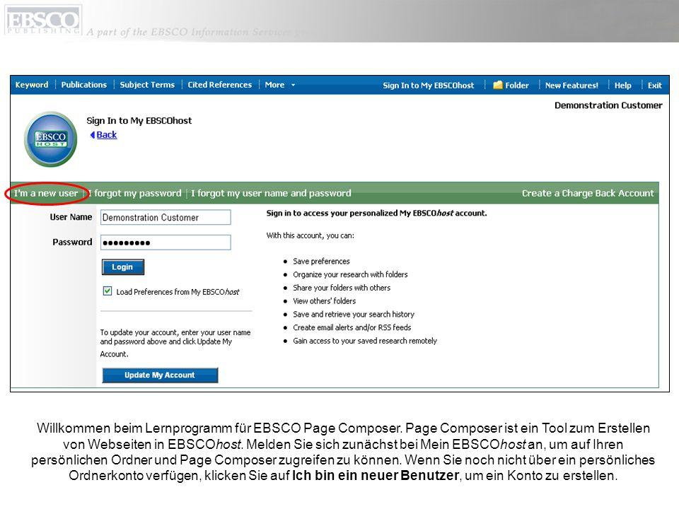 Willkommen beim Lernprogramm für EBSCO Page Composer.